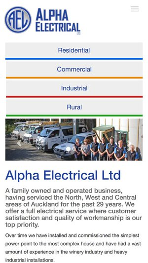 Alpha Electrical Website - mobile